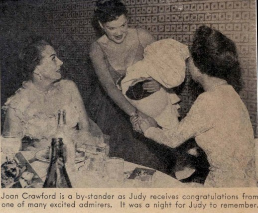 Judy Garland, Joan Crawford, and Jane Wyman at Romanoff's after Garland's Los Angeles Philharmonic opening night April 21, 1952