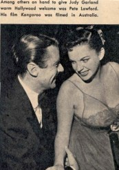 Judy Garland and Peter Lawford at Romanoff's after Garland's Los Angeles Philharmonic opening night April 21, 1952