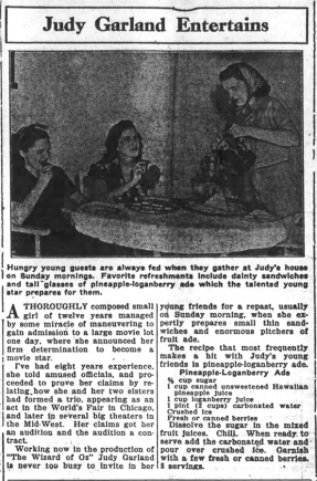 Judy Garland serves pineapple-loganberry ade to her sisters