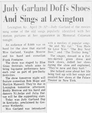 Judy Garland Doffs Shoes And Sings at Lexington