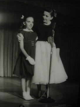 Liza Minnelli joins her mother, Judy Garland, on stage at the Flamingo in Las Vegas 1957