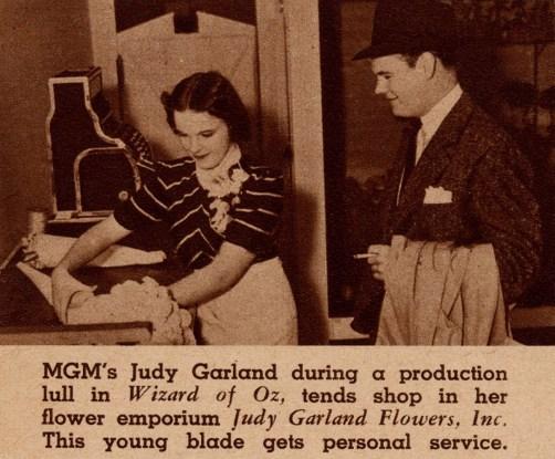 "Judy Garland in her flower shop, ""Judy Garland Flowers"" early 1939"