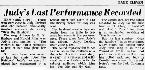 "Review of ""Judy. London. 1969."" May 10, 1970"