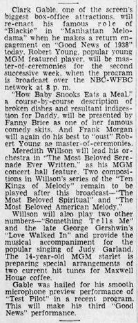Judy Garland, Clark Gable, Fanny Brice, Robert Young, Meredith Willson on the Good News of 1938 radio show May 5, 1938