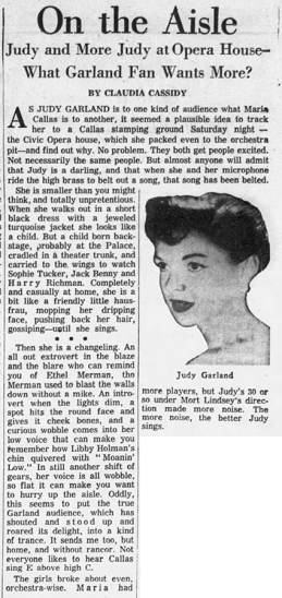 Judy Garland at the Chicago Opera House May 8, 1961
