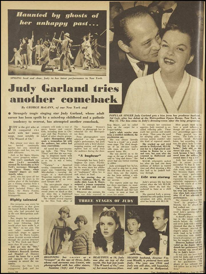 Australian Women's Weekly article on Judy Garland June 10, 1959