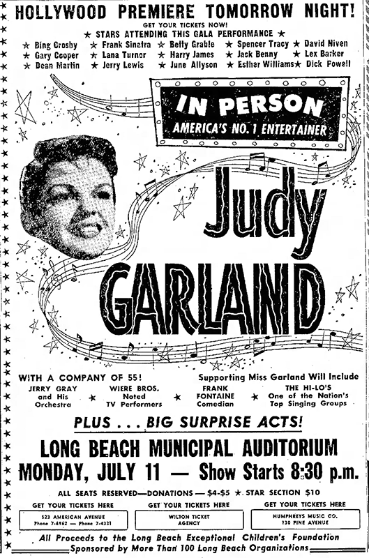 Judy Garland in person in Long Beach, CA
