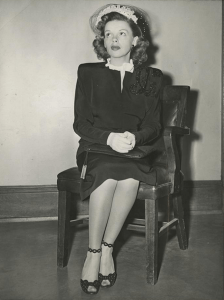 Judy Garland's divorce from David Rose is final June 7, 1944. Judy is seen here in Los Angeles Superior Court for the ruling.