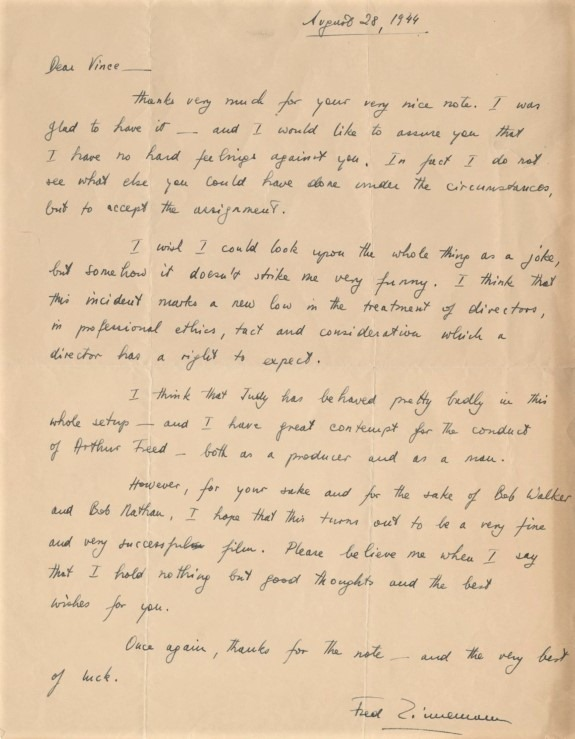 August 28, 1944 Zinneman letter Bobby Waters