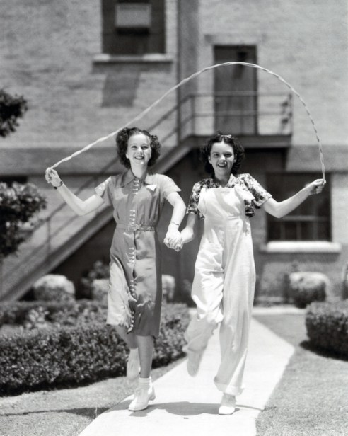 Deanna Durbin and Judy Garland on the MGM lot