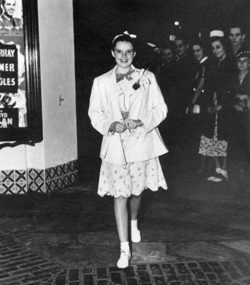 "Judy Garland at a preview of ""Broadway Melody of 1938"" at the Village Theater in West Los Angeles in August 1937"