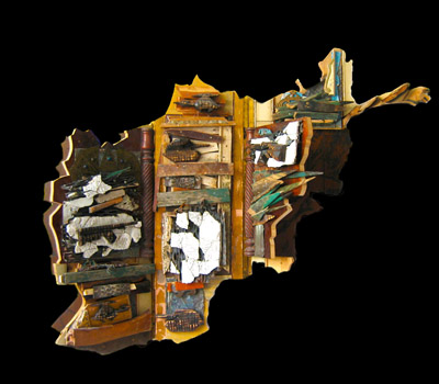 """Afghan Map"" 2010. Wood, various materials. 42""x72""x5"""