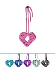 Decorative hearts: 12cm x 10cm heart with a 25cm string @ R25.00. Suggested use: As a personal accessory or decor. Tie them to trees, bags, gifts, chairs, serviettes, door knobs etc. Great curtain tie-back.