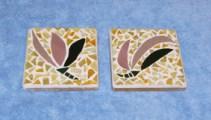 Coasters on tile backs, tesserae cut from sheet glass