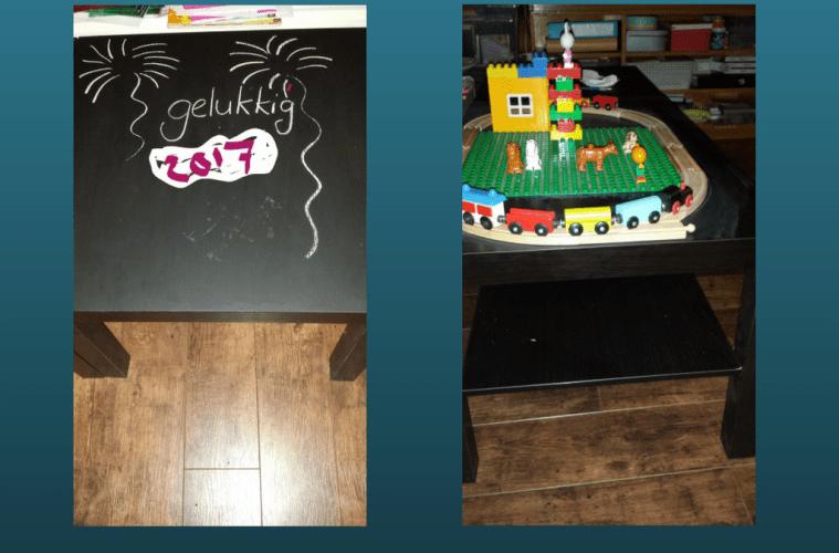 DIY krijtbordtafel en treinbaantafel