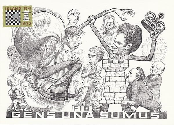Spassky-Fischer (1972) Una Epopeya en Caricaturas-Halldór Pétursson-1