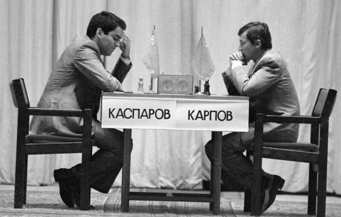Kasparov-karpov-Campeones de ajedrez soviéticos-rusos