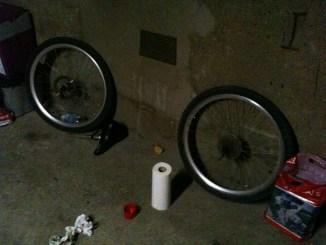 Laufräder im Werkzeugkeller