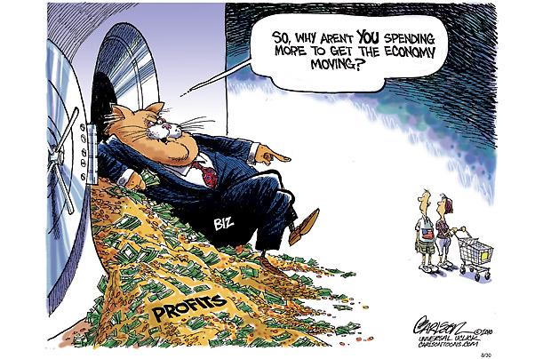 Corporate profits vs consumer cartoon