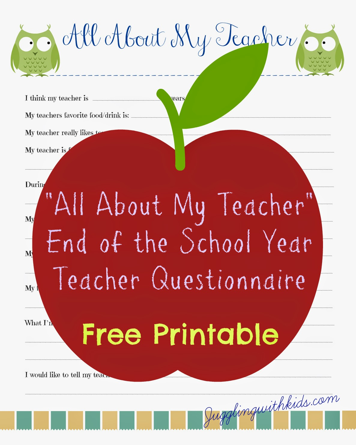 Free Teacher Printable Questionnaire For End Of School
