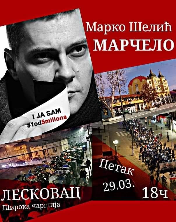 Marčelo govori na protestima u Leskovcu u petak