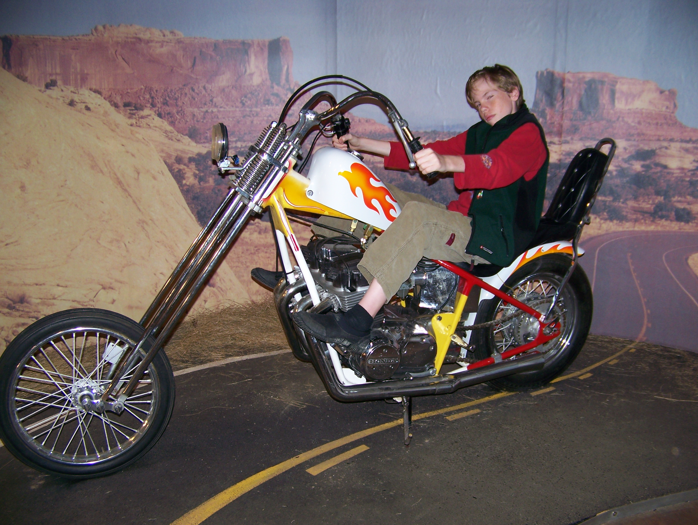 Trevor on a Triumph at the motorcycle museum in Port Joli.