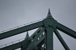 According to the Jacques Cartier website, these little Eiffel Towers at the top of the bridge weren't a gift from France -- France offered a bust of Jacques Cartier that hangs out on an Ile Ste. Helene bike path.