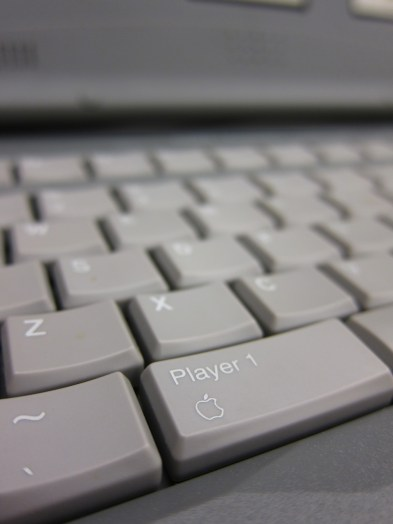 """The Tiger keyboard's open/close Apple keys also had """"Player 1"""" and """"Player 2""""."""