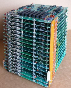 A tower of 16 networked Apple II computers