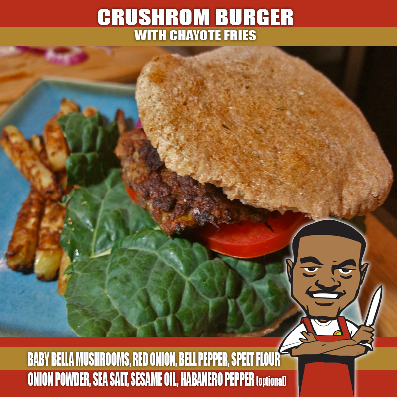 CRUSHROOM BURGER AND FRIES