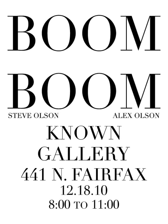 Boom Boom at Known Gallery Los Angeles