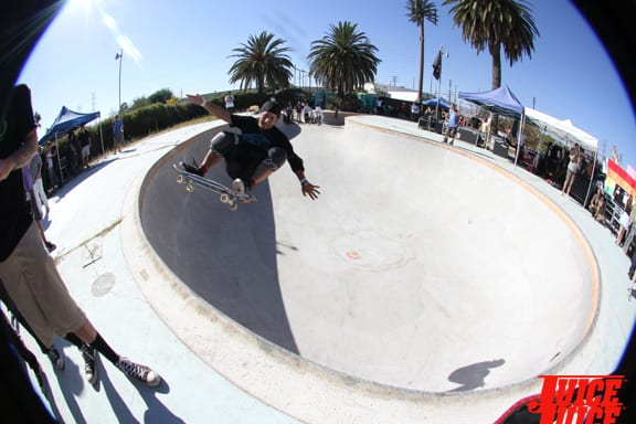 Christian Hosoi warms up with a frontside air.