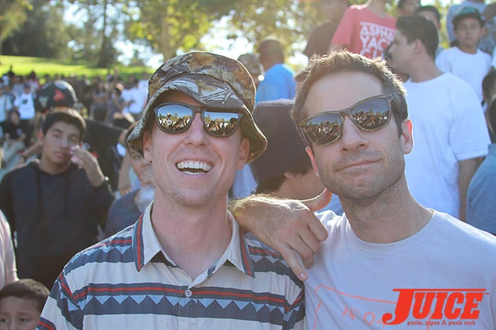 Sam Smyth and Mike Carroll. Diamond Skate Plaza Opening Day 2014. Photo by Dan Levy.
