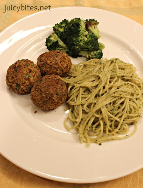 lentil meatballs with pasta and broccoli
