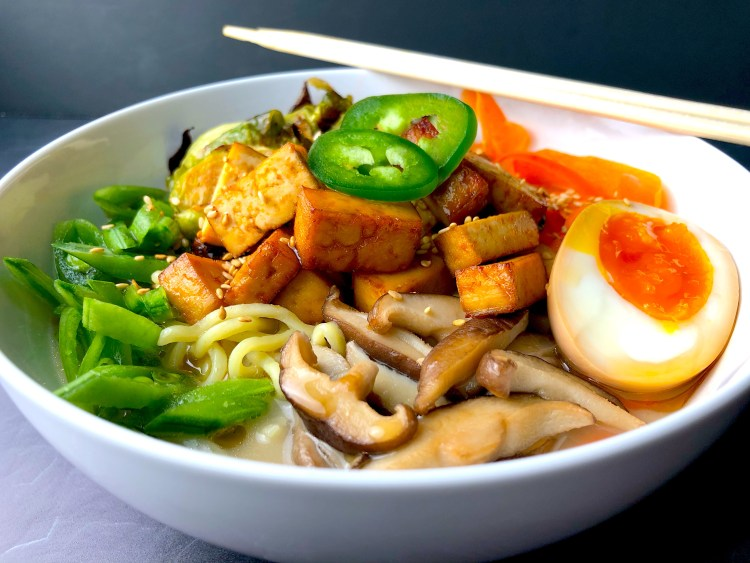 Ramen with Miso Roasted Brussels Sprouts and Baked Tofu