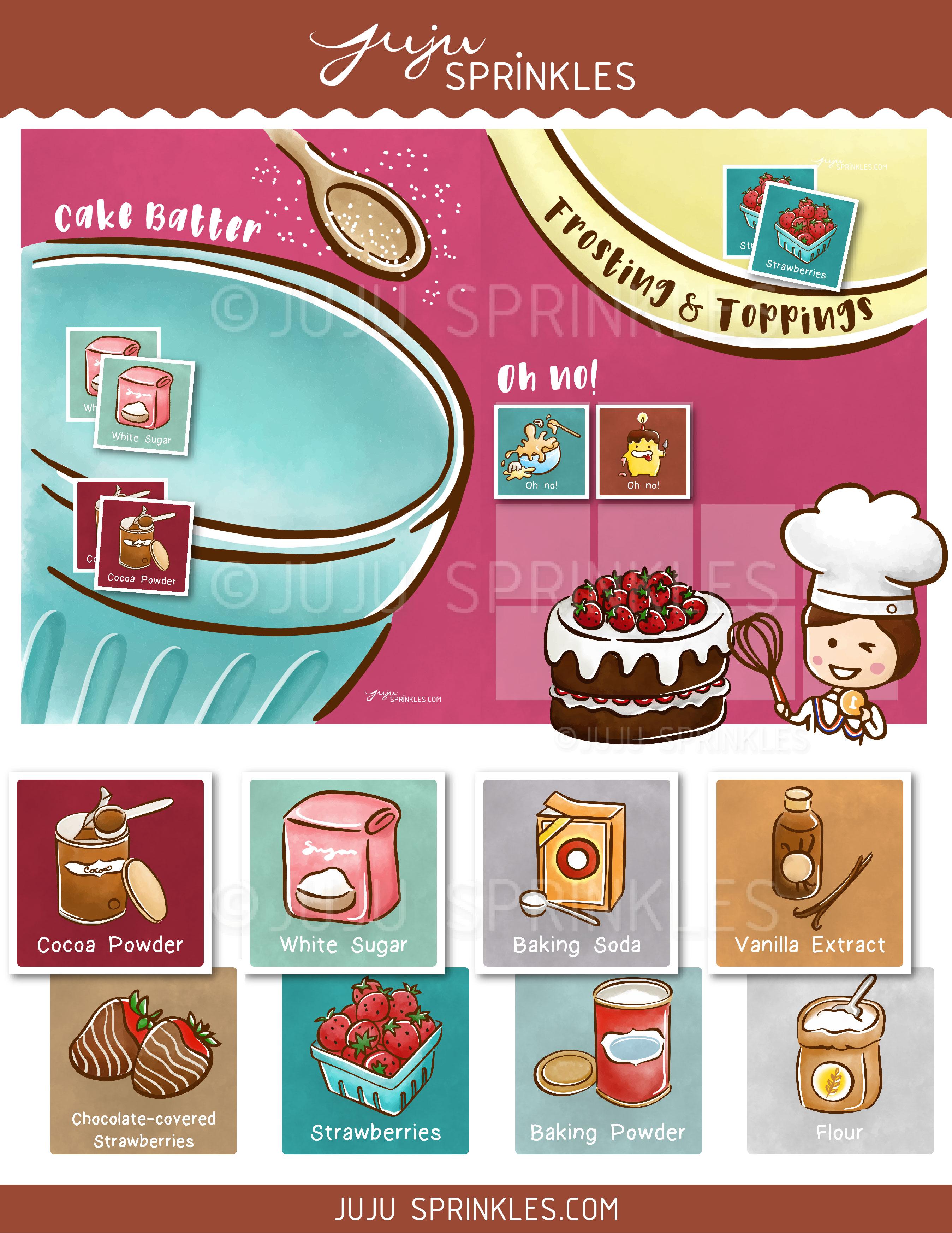 Printable Baking Memory Game Strawberry Chocolate Cake