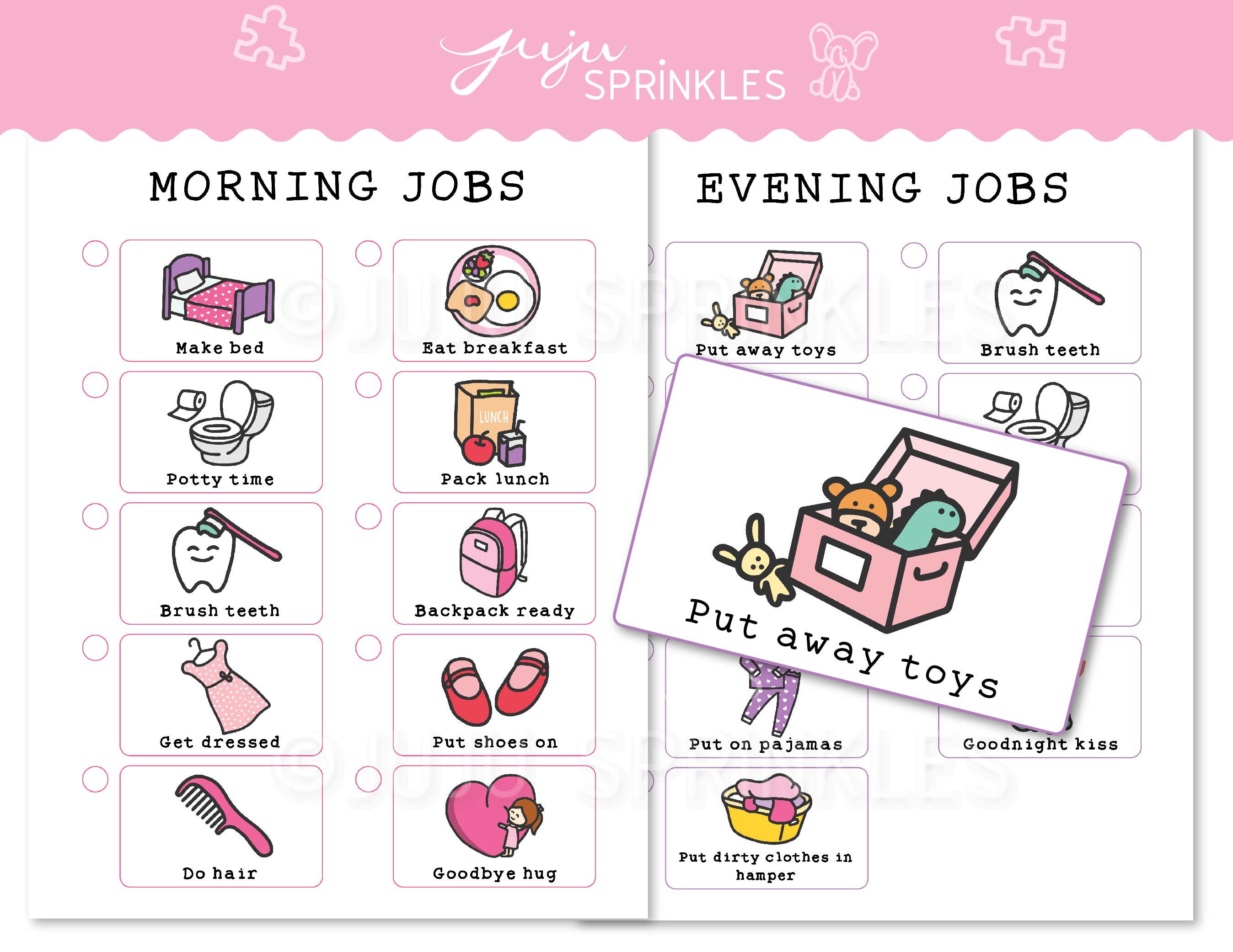 Kids Chore Chart Printable Pink Juju Sprinkles