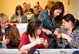 Juju teaching at Vogue Knitting Live, Chicago 2013