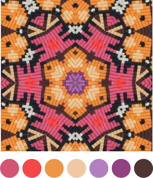 Kaleidomatic image of a Swedish tapestry with colour palette