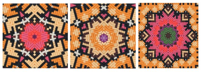 Tam top patterns made with Kaleidomatic app and 70's Swedish tapestry