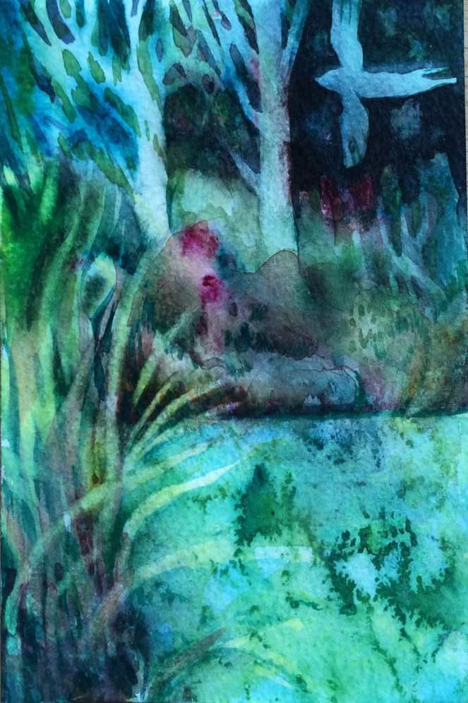 Dark Swamp Watercolour by Juju Vail