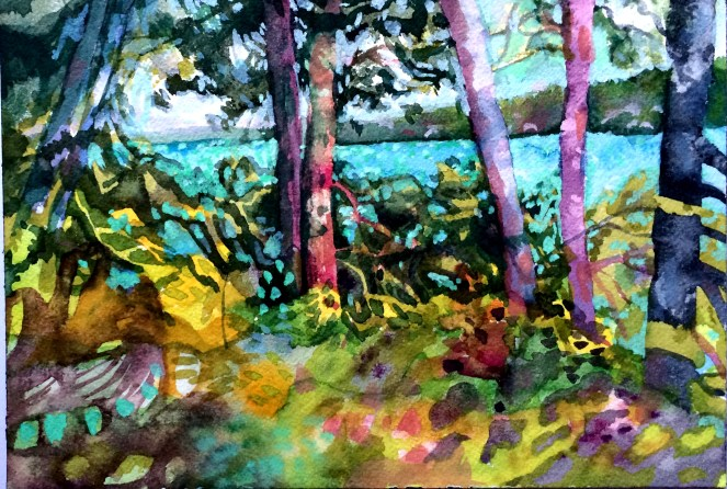 Lakefront watercolour by Juju Vail