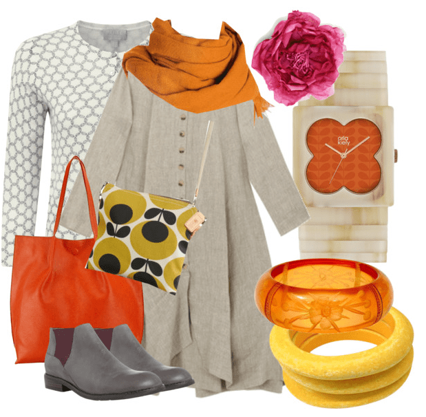 Orange Tote and patterned bag mood board at jujuvail.com