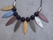 Multi Metal Leaf & Wood Bead Tribal Necklace