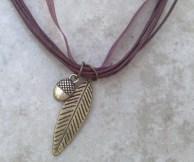 Leaf & Acorn Ribbon & Leather Necklace