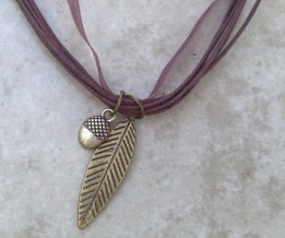 Leaf & Acorn Ribbon & Leather Necklace