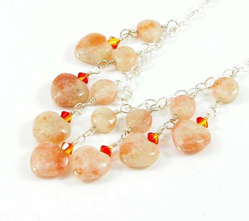 Orange sunstone heart necklace