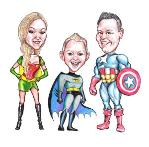 Karikaturtegning, personlige karaikaturtegning, tegninger af familien, mandelgave 2019, bedste mandelgaver