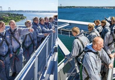 Bridgewalking Lillebælt, Bridgewalking over Lillebælt, lillebælt gå på bro, adrenalin oplelveser, højdeskræk oplevelser, opleveser i Jylland, Oplevelser på fyn, Oplevelser i middelfart, gå på en bro, unikke oplevelser i Danmark, Bridgewalk Danmark, julegaver 2021