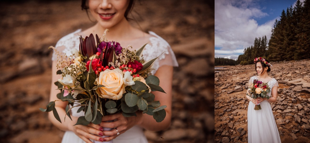 Stunning Chinese bride with bouquet uk